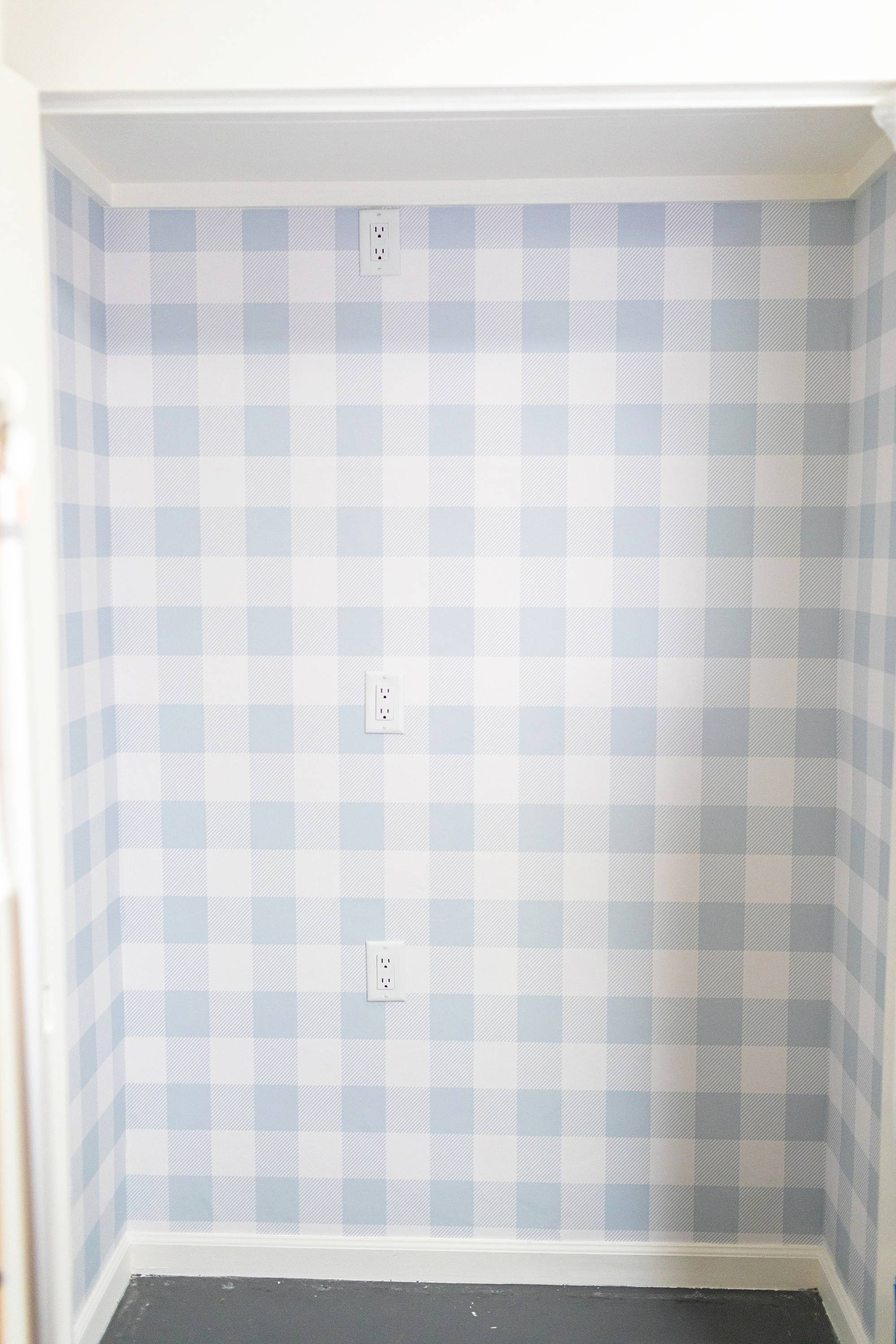 steps of the remake of my office closet with outlets and removable buffalo check wallpaper #wallpaper #homeoffice #office
