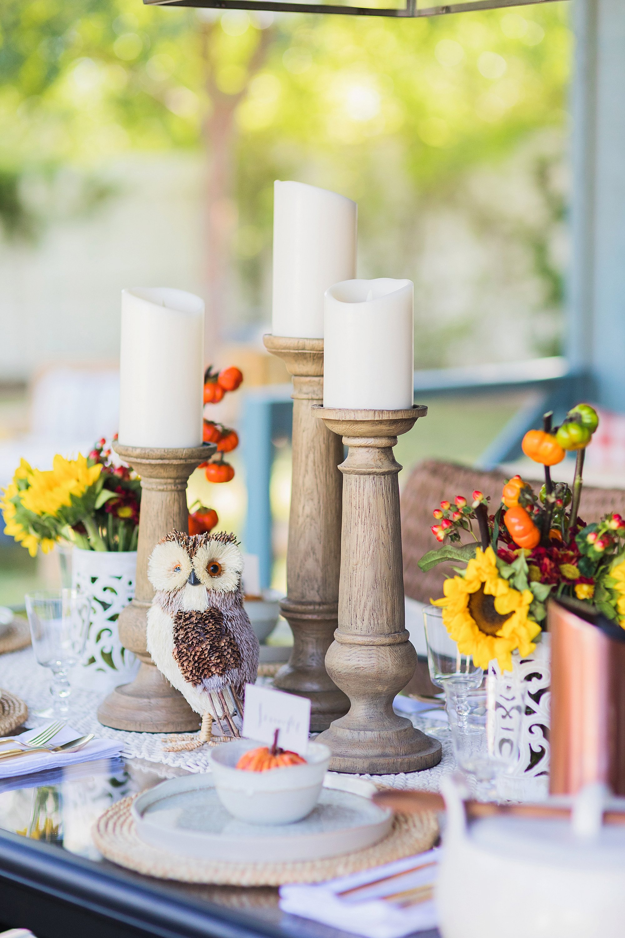 fall decor outdoor entertaining with balsam hill - set of 3 candle stick holders