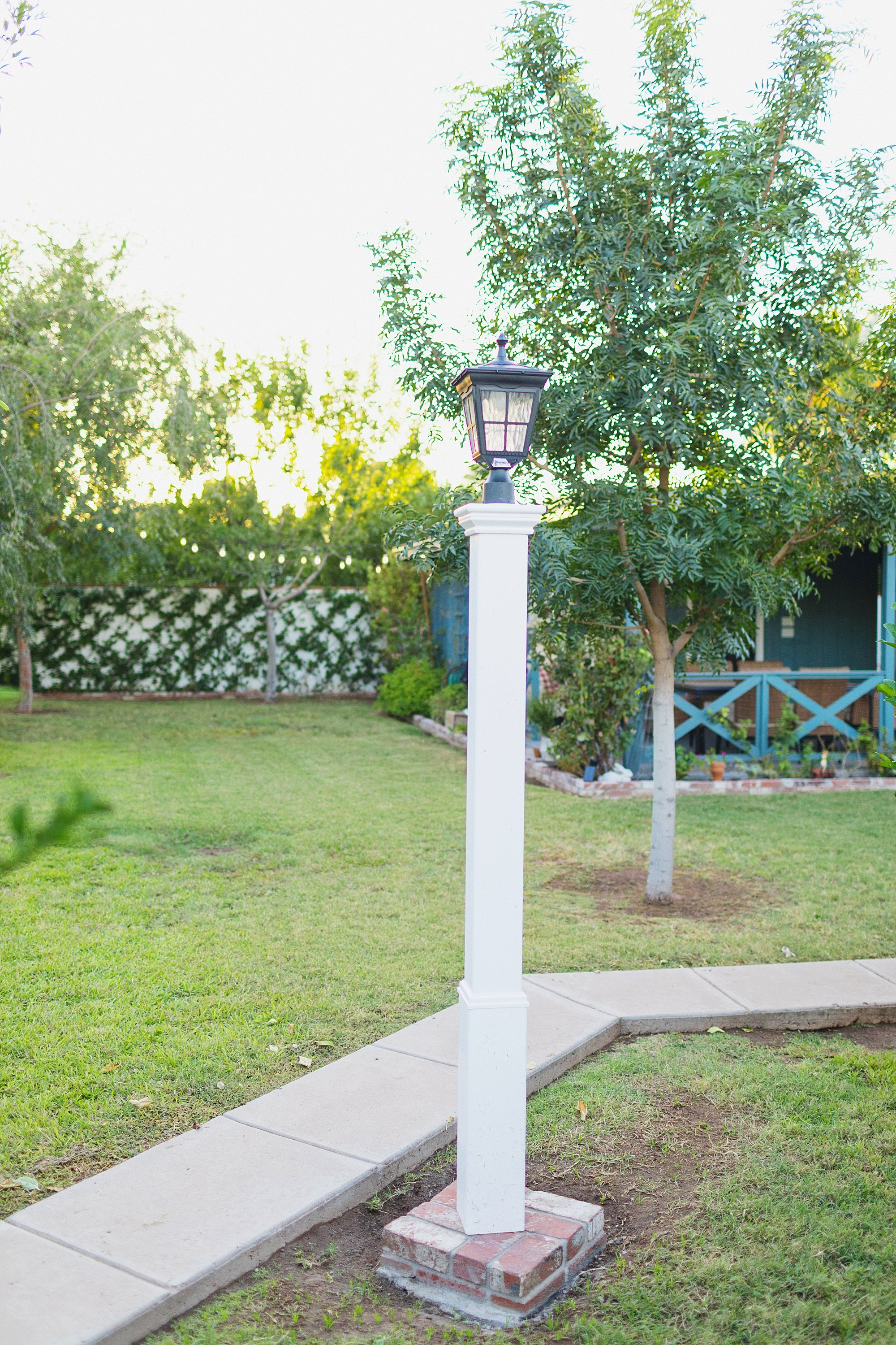 solar light on lamp post affordable no electrician bright LED warm light how to on the blog! coastal style