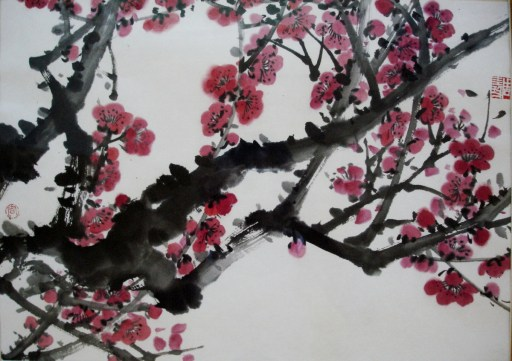 chinese-painting-on-rice-paper-spring-plum
