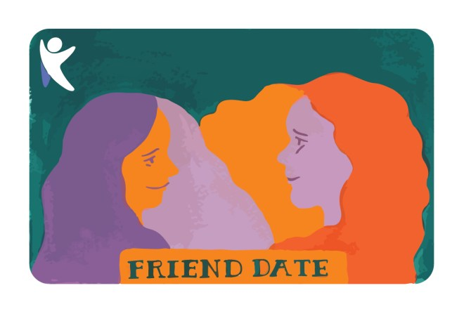 illustration of two female friends enjoying eachother's company called Friend Date Diana Kohne