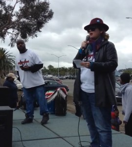 Reading Headline Antidote on stage at the Vallejo Man March peace rally.