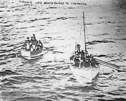 Titanic survivors in lifeboats awaiting rescue