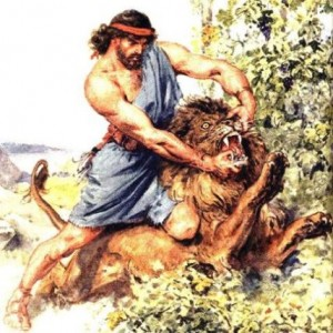 He killed a lion with his bear hands