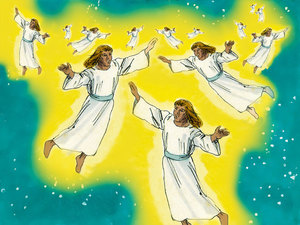 Angels appeared with the news of the Saviors birth