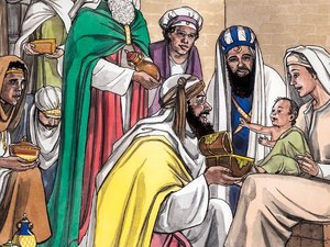 The Wise Men with the baby Jesus