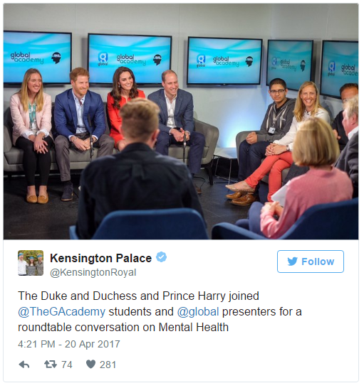 The Duke and Duchess and Prince Harry joined @TheGAcademy students and @global presenters for a roundtable conversation on Mental Health
