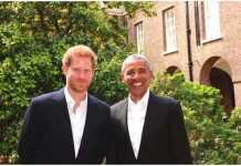 Prince Harry hosted former US President @BarackObama at Kensington Palace today Photo (C) TWITTER