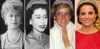 The tiara was made by Royal jewellers Garrard in 1914 to Queen Mary's personal design Photo (C) GETTY IMAGES