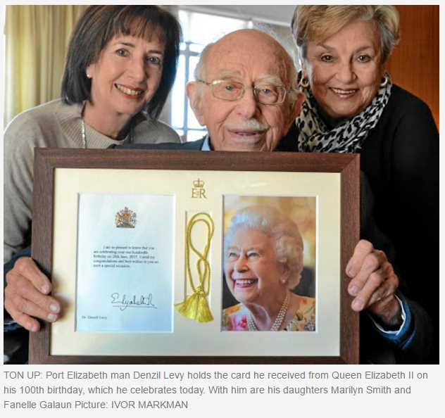 TON UP: Port Elizabeth man Denzil Levy holds the card he received from Queen Elizabeth II on his 100th birthday, which he celebrates today. With him are his daughters Marilyn Smith and Fanelle Galaun Picture: IVOR MARKMAN