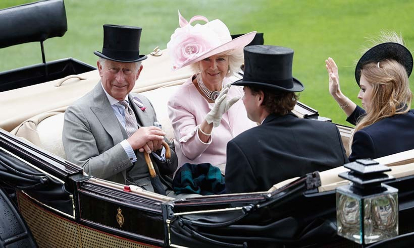 ASCOT, ENGLAND - JUNE 14: (L-R) Prince Charles, Prince of Wales, Camilla, Duchess of Cornwall, The Hon. Charles Fellowes and Princess Beatrice of York arrive by carriage on day 1 of Royal Ascot at Ascot Racecourse on June 14, 2016 in Ascot, England. (Photo by John Phillips/Getty Images for Ascot Racecourse)