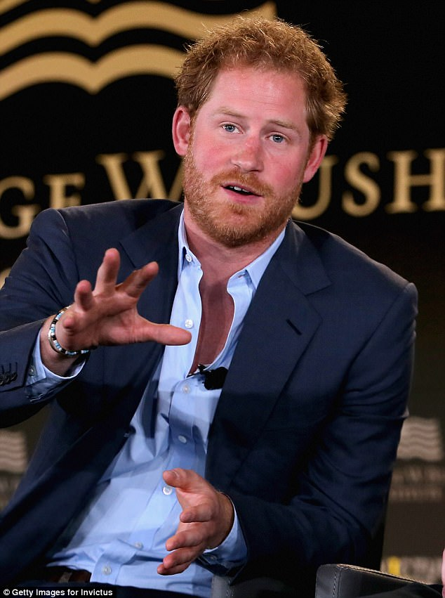 Prince Harry, pictured speaking in May 2016, is guilty of no more than thoughtfulness and honesty – about an emotional past that binds the younger Royals together
