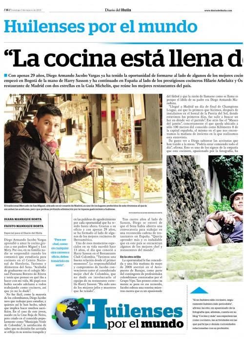 El chef Diego Armando Jacobo abre la serie