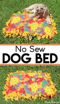 Fleece No-Sew Dog Bed Tutorial Make with A Pillow