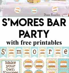 s mores bar backyard party with free printables want to throw a backyard party [ 620 x 1488 Pixel ]