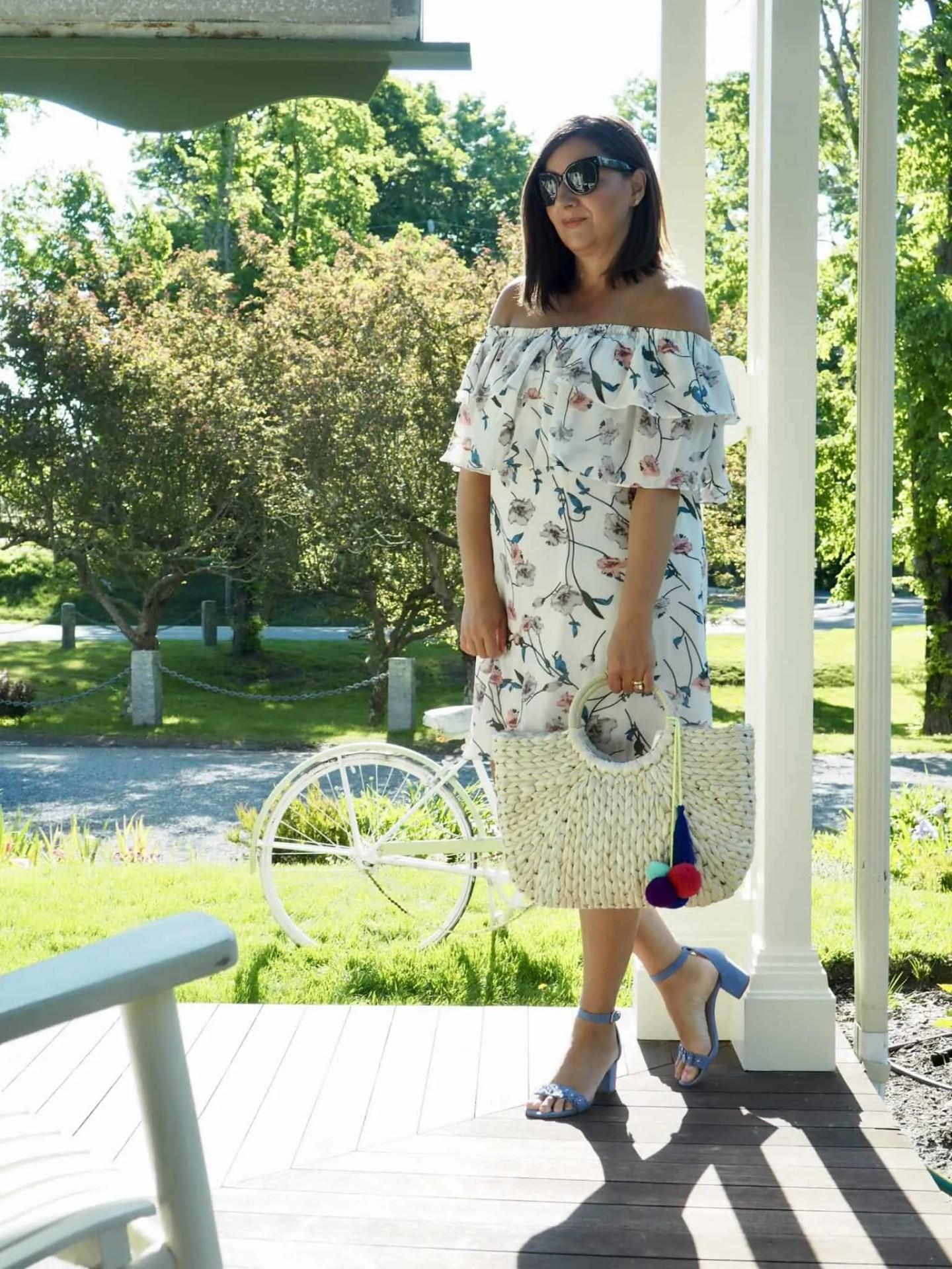 Botanical Print Ruffle Dress