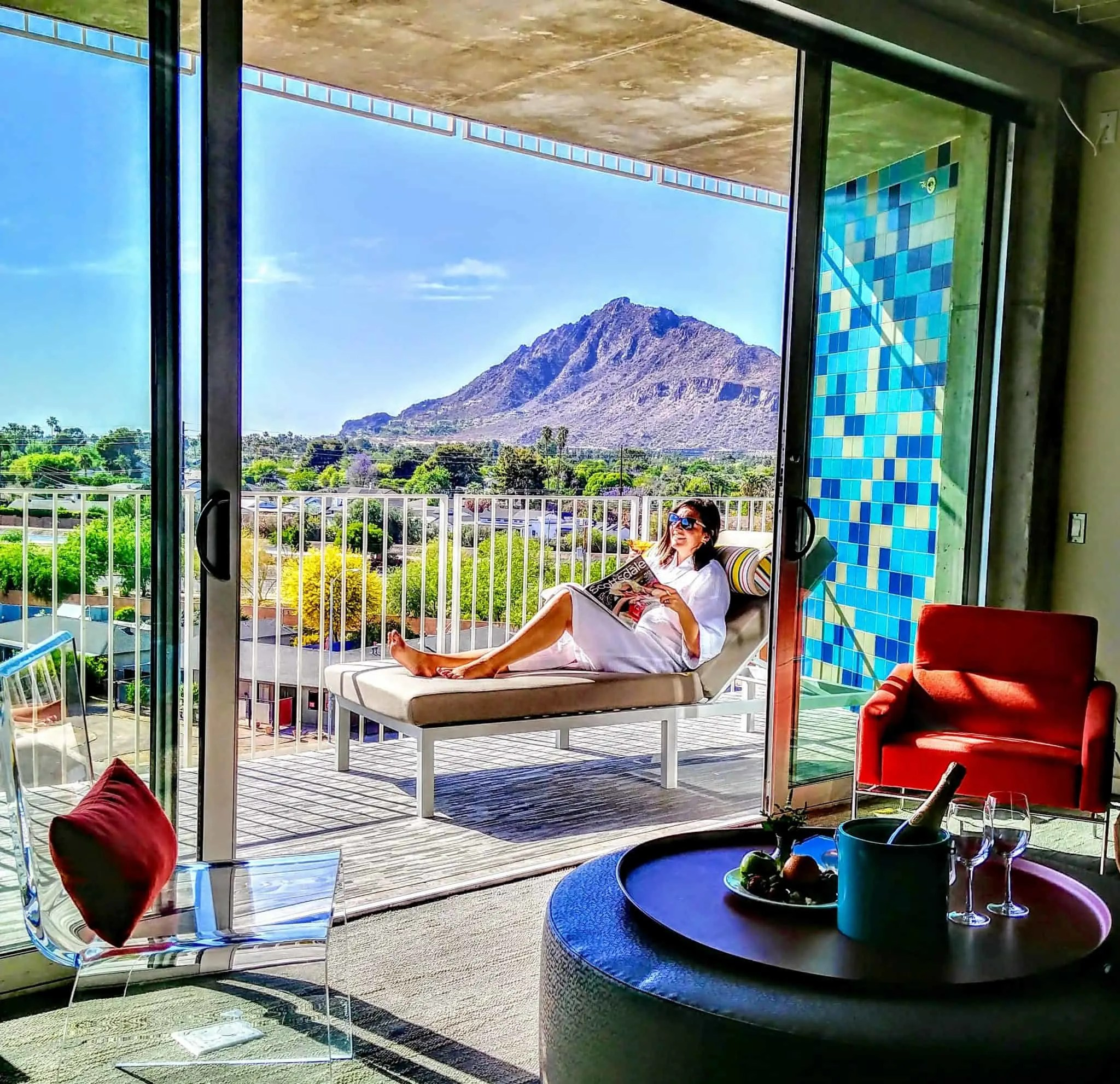 hotel valley ho balcony suite mountain view scottsdale Arizona blue tiles red sofa suite
