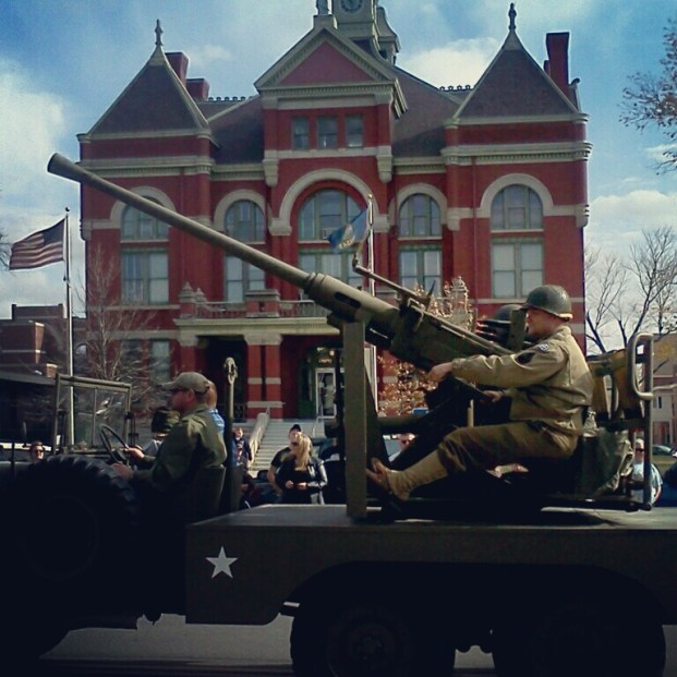 World War II? In front of the Franklin County Courthouse.