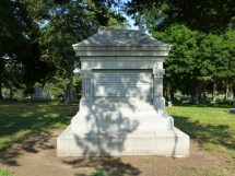 The ground behind this memorial monument undulates with the rows of Quantrill's Raid victims moved from Pioneer Cemetery and reburied in Section 3 at Oak Hill.