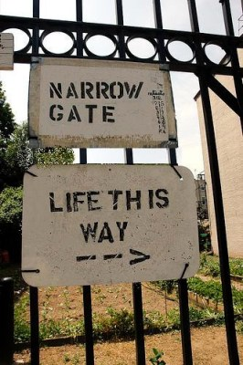 The gate is narrow, but not impossible to get through.