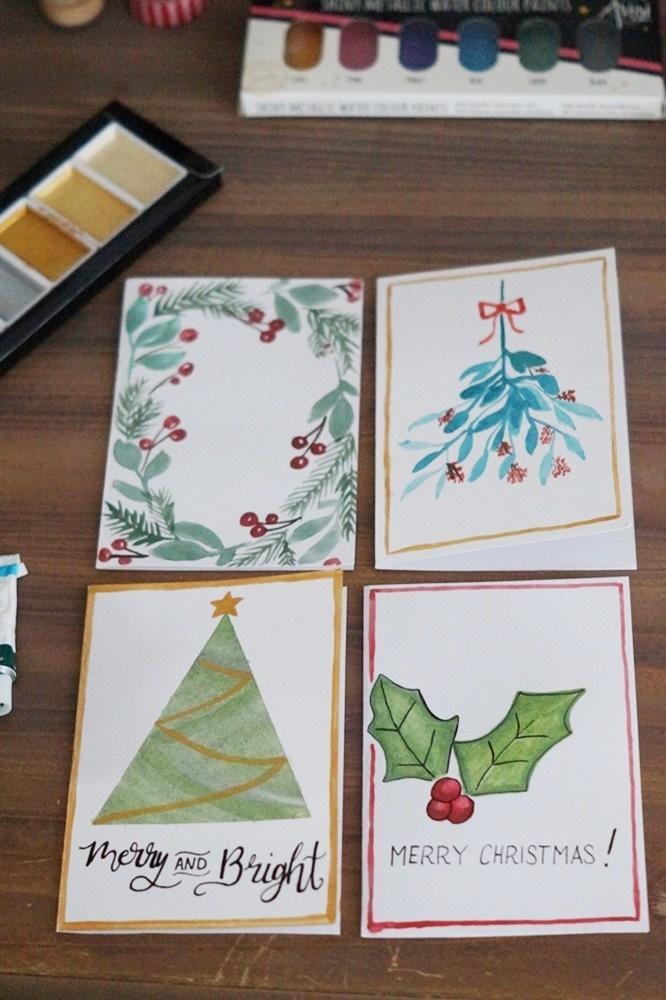 Last Minute Weihnachtskarten mit Wasserfarben gestalten