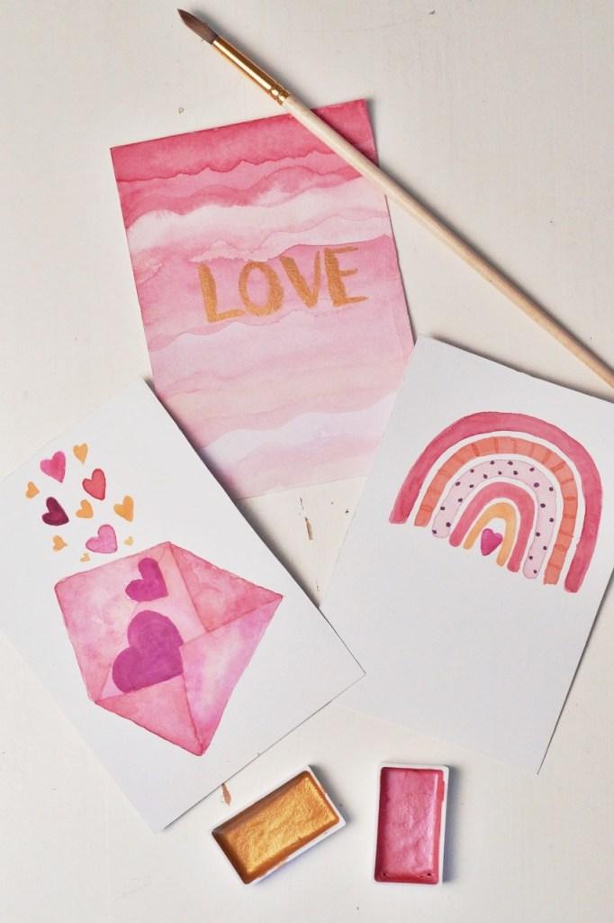 Karten selber gestalten mit Wasserfarben