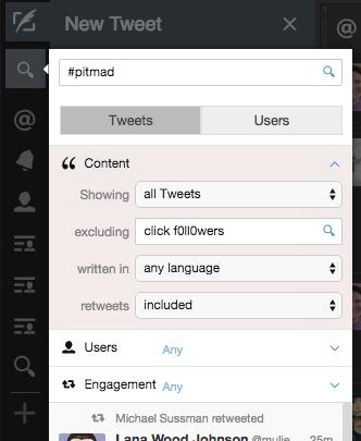Filter #PitMad Tweets Tweetdeck