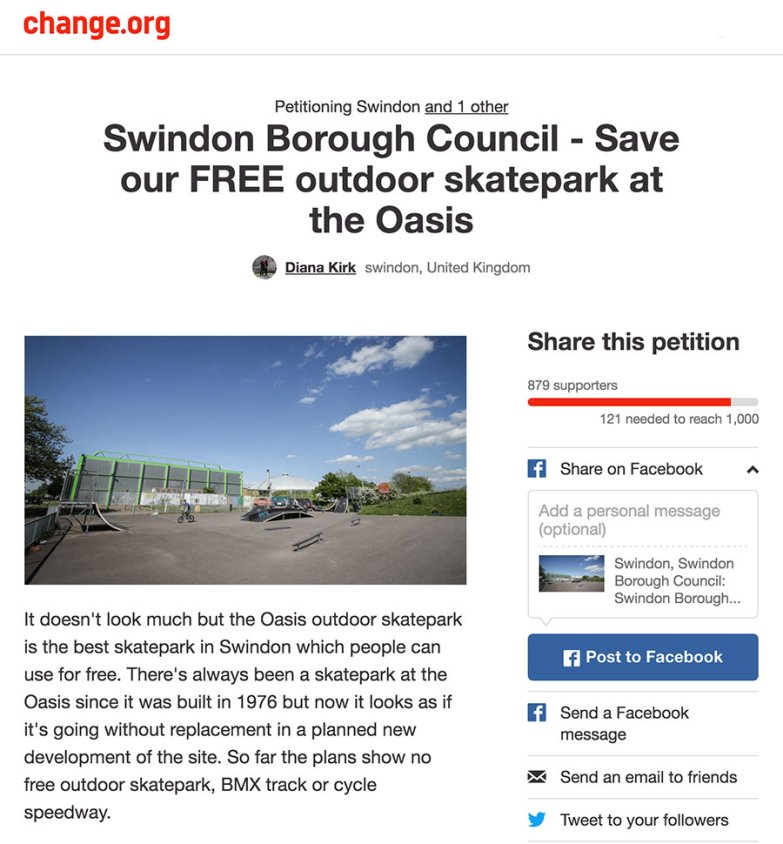 Change.org petition to save the skate park