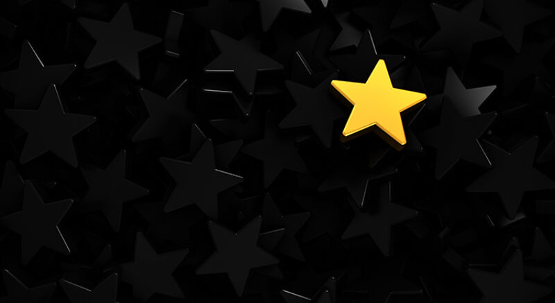 Background of gray stars and one gold highlighted at the top