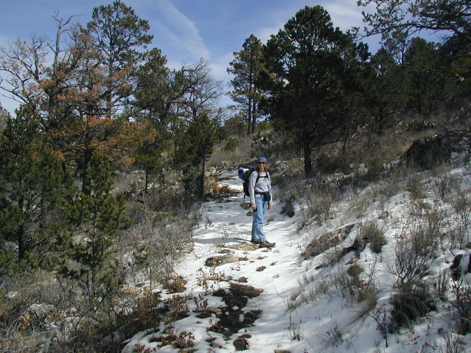 Diane hiking Dog Canyon