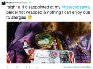 "Tweet by Pixie: ""*sigh* a lil disappointed at my #nzsecretsanta parcel not wrapped & nothing I can enjoy due to allergies"""
