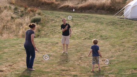 From left to right: me, Kai and Leo playing badminton.