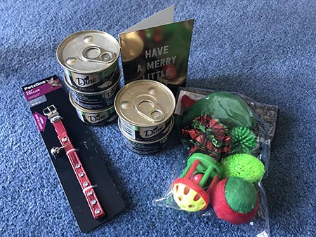 Max's Twitter Secret Santa gift - wet cat food cans, a red collar, a card and cat toys.