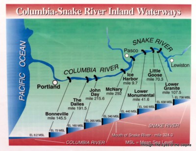 8 dams on the Columbia-Snake River drop the water 730 feet