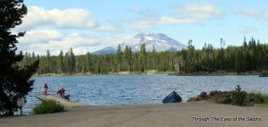 Big Lava Lake with Mount Bachelor in the background