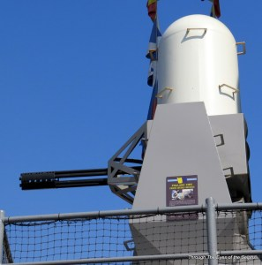 Phalanx system protects the ship with firing 3,000 22 mm rounds per minute