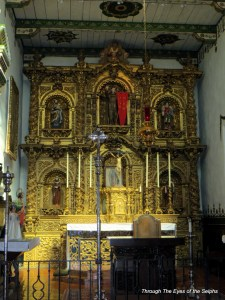 The centerpiece of the chapel is its spectacular retablo which serves as the backdrop for the altar