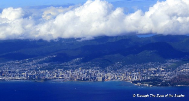 Our first view from the aircraft of Oahu Island and Waikiki Beach