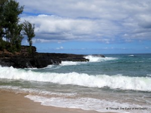 Left view of Lumahai Beach part of South Pacific movie