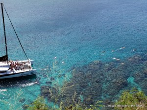 Honolua Bay is where we snorkeled after this boat left