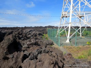 This Cape Kumukahi lighhouse was saved in 1960 when the lava flow split and went around the lighhouse fence