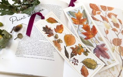 Easy Peasy Autumn Leaf Bookmarks in Watercolor – cute little gift idea – beginners step by step tutorial