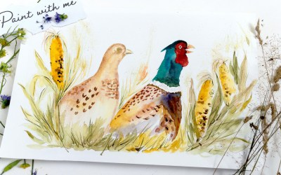 Paint a Pair of Fall Pheasants and Calico Corn Cobs
