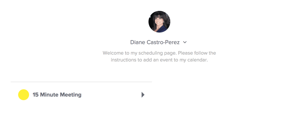link to schedule an appointment with Diane Castro-Perez