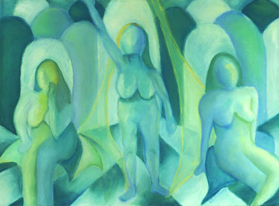 Reflections in Blue III, 3 figures in blue - they look like angels with the arches behind them