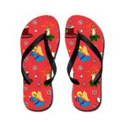 Christmas, Swans, Angels, Candles and Top Hats Flip Flops