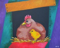"Chicken Mom, Diane Dyal, Acrylic, 16""x20"", 2013"