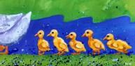 """Ducks in a Row, Diane Dyal, Acrylic, 12""""x24"""", 2016"""