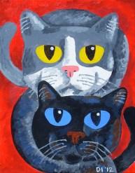 "Kitten Youngsters, Diane Dyal, Acrylic, 11""x14"", 2012"