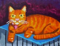 "Lord Byron the Kitty, Diane Dyal, Acrylic, 11""x14"", 2011"